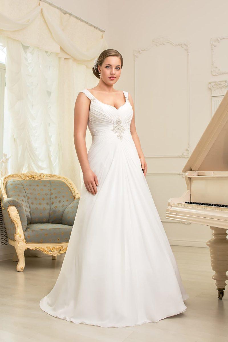 Свадебное платье большого размера на бретелях.