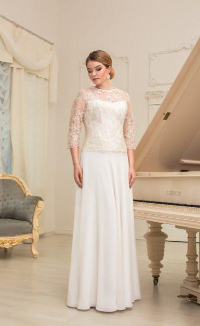 Прямое свадебное платье с длинными рукавами из кружевной ткани и элегантной юбкой.