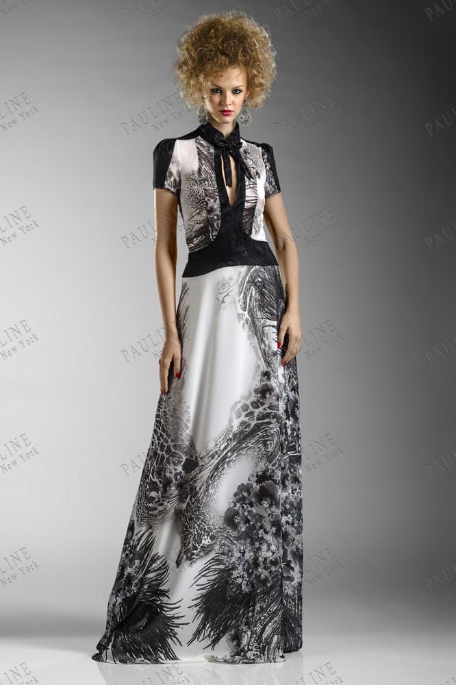 Атласное вечернее платье серого цвета с коротким черным рукавом.