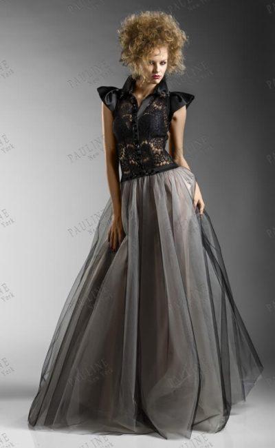 Эффектное вечернее платье в темных тонах