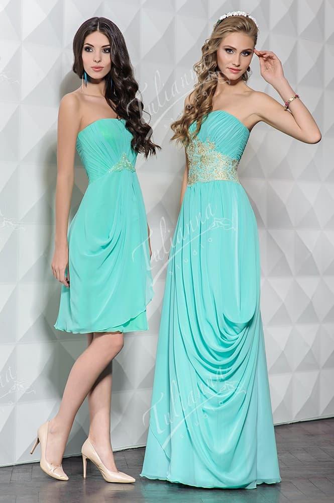 Бирюзовое вечернее платье с лаконичным открытым декольте.