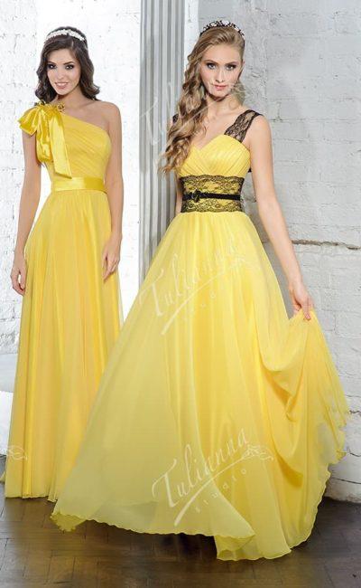Прямое вечернее платье из легкого светло-желтого шифона.