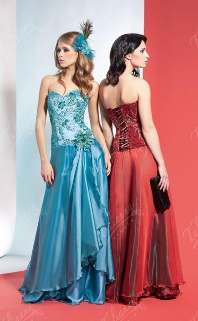 Стильное вечернее платье прямого кроя с атласным корсетом.