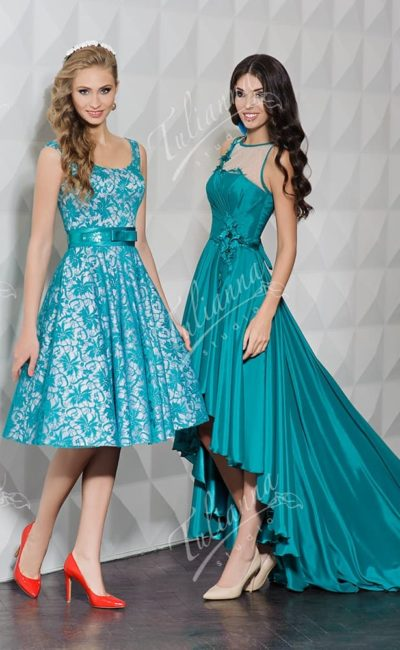 Великолепное вечернее платье бирюзового цвета с кружевным декором.