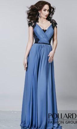 Великолепное вечернее платье сиреневого цвета с женственным вырезом и кружевным декором.