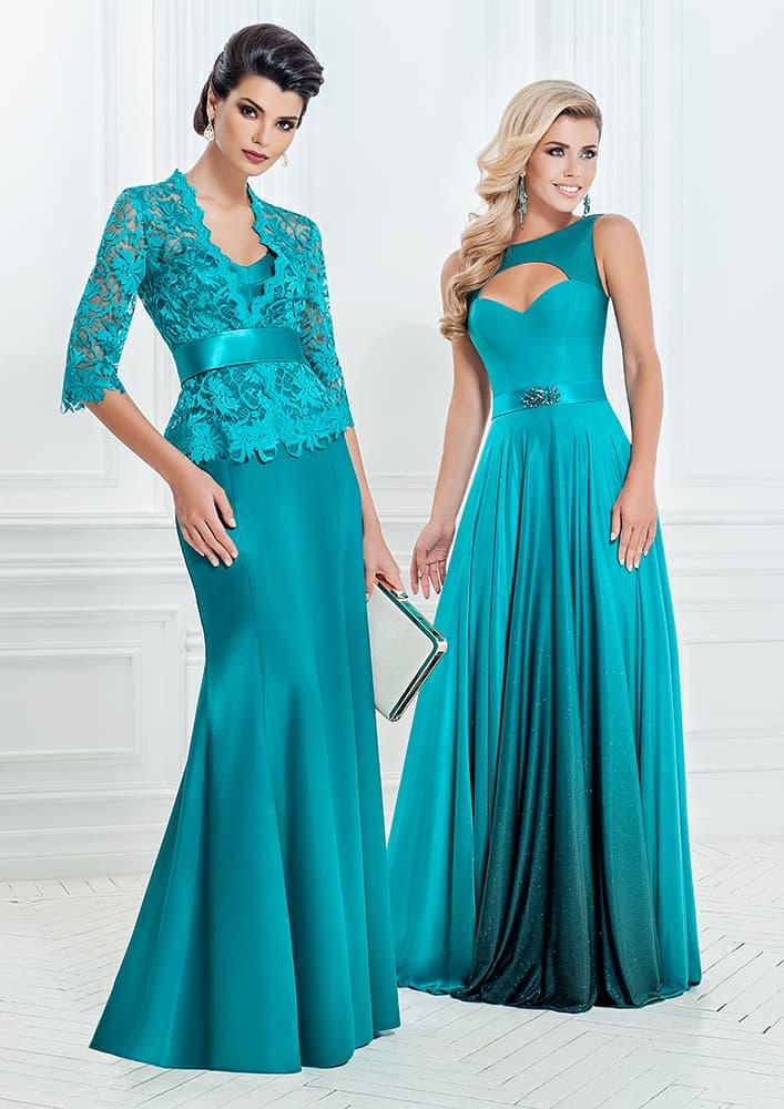 Атласное вечернее платье прямого кроя насыщенного лазурного оттенка.