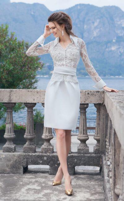 Короткое свадебное платье с воротничком