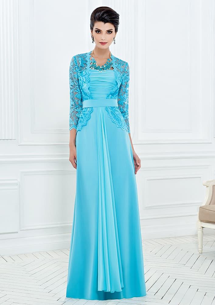 Прямое вечернее платье с узким поясом и кружевным болеро.