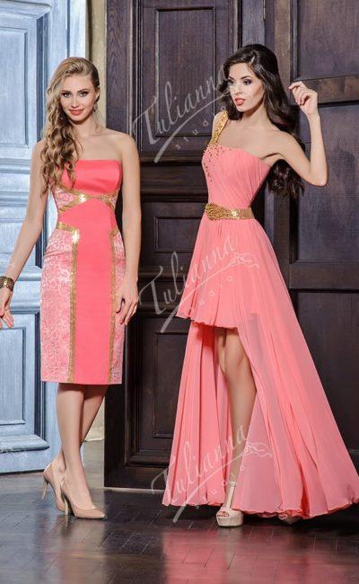 Розовое вечернее платье с элегантным декольте и прямой юбкой.