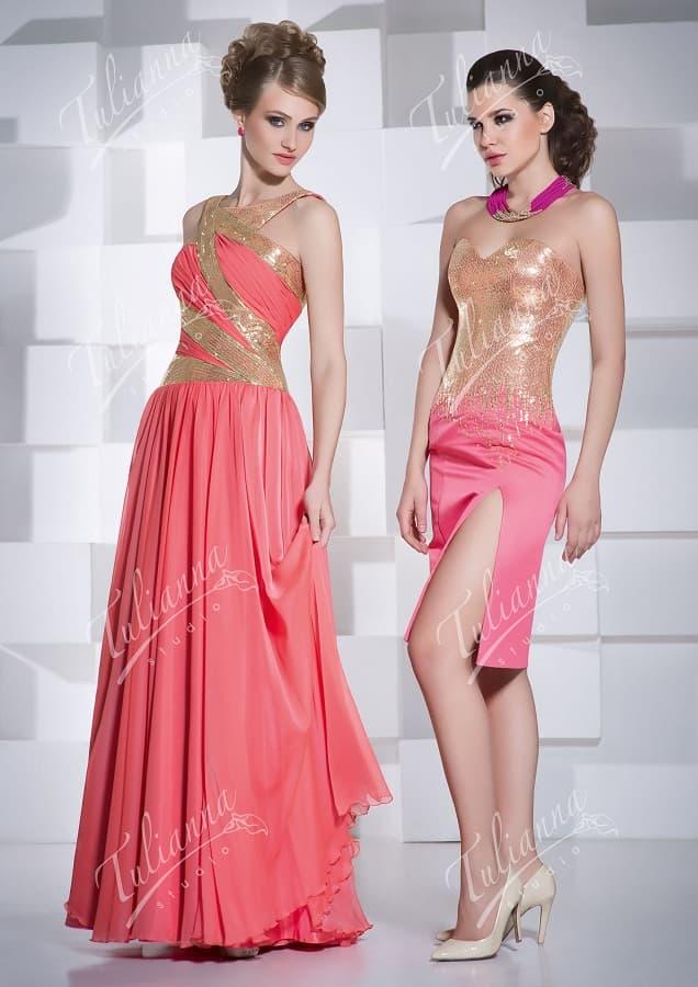 Изысканное вечернее платье со сверкающей золотистой отделкой.