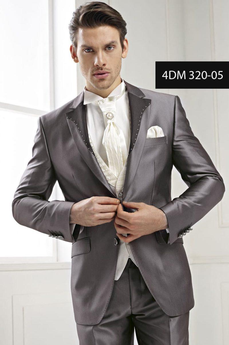▶▶Жемчужно-серый свадебный мужской костюм  с однобортным пиджаком, прямыми брюками и белой сорочкой ☎ +7 495 724 26 05 ▶▶ Свадебный центр Вега Ⓜ Петровско-Разумовская