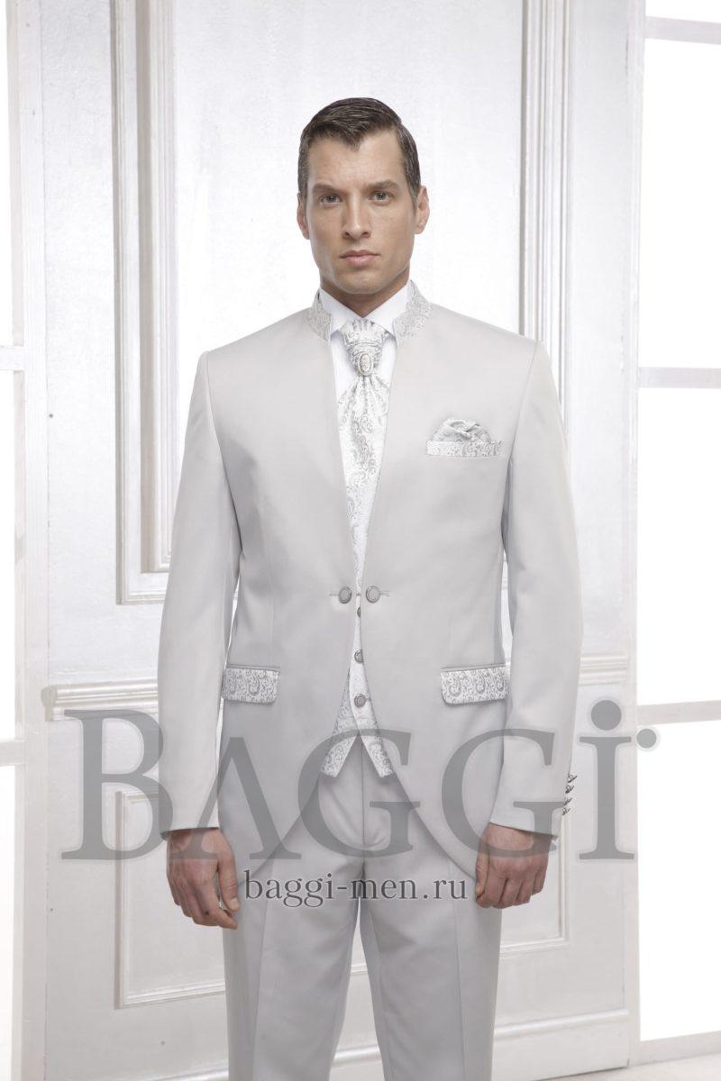 ▶▶Дымчато-белый мужской свадебный костюм с жилетом и галстуком пластрон ☎ +7 495 724 26 05 ▶▶ Свадебный центр Вега Ⓜ Петровско-Разумовская