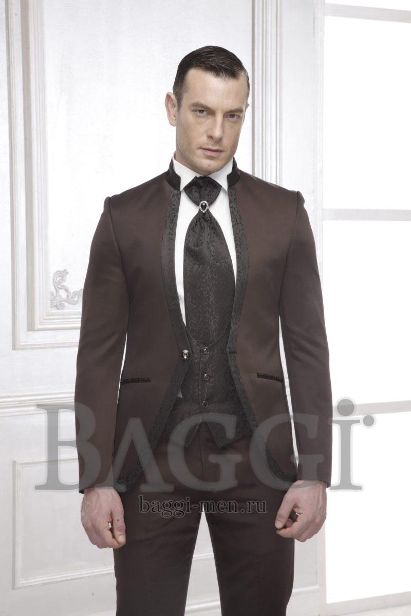 ▶▶Темно-коричневый свадебный мужской костюм с жилетом и элегантным галстуком ☎ +7 495 724 26 05 ▶▶ Свадебный центр Вега Ⓜ Петровско-Разумовская