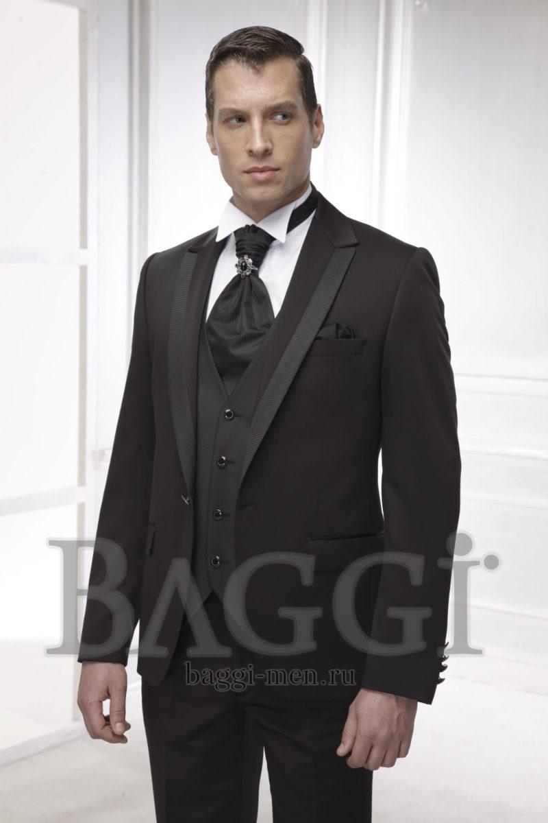 ▶▶Черный свадебный мужской костюм с жилетом и эффектным черным галстуком ☎ +7 495 724 26 05 ▶▶ Свадебный центр Вега Ⓜ Петровско-Разумовская