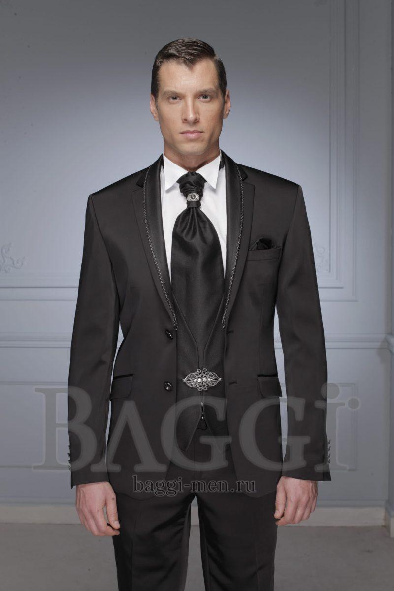 ▶▶Черный мужской костюм с жилеткой на застежке и бисерным декором пиджака. ☎ +7 495 724 26 05 ▶▶ Свадебный центр Вега Ⓜ Петровско-Разумовская