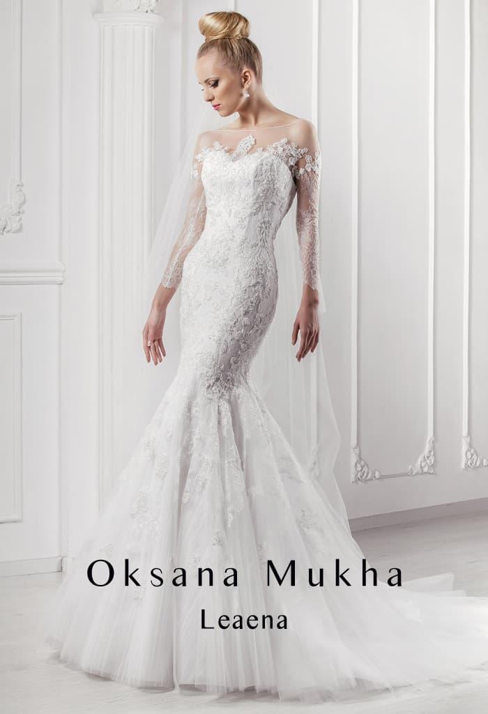 Кружевное свадебное платье соблазнительного кроя «рыбка» с полупрозрачным верхом.