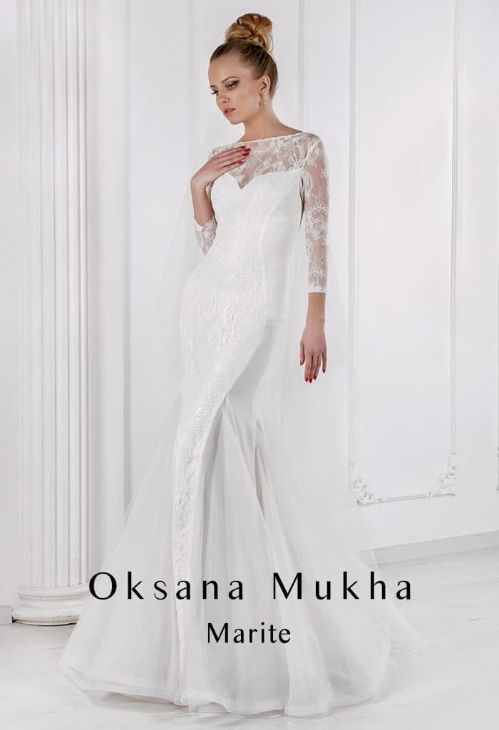 Соблазнительное свадебное платье «русалка» с кружевным рукавом три четверти.