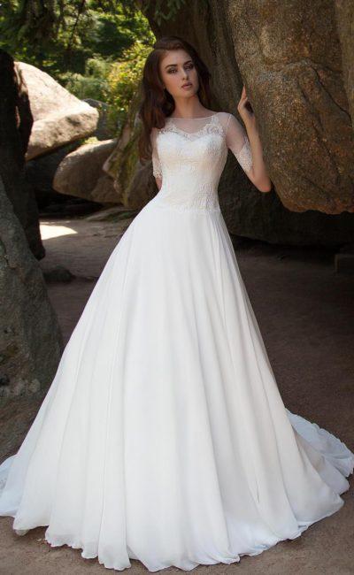 свадебное платье с округлым вырезом