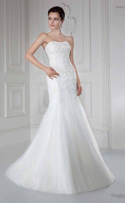 Свадебное платье «рыбка» с атласной подкладкой