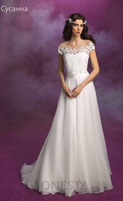 Романтичное свадебное платье прямого кроя
