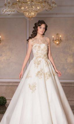 Изысканное свадебное платье А-силуэта с золотистым декором и вставкой над лифом.