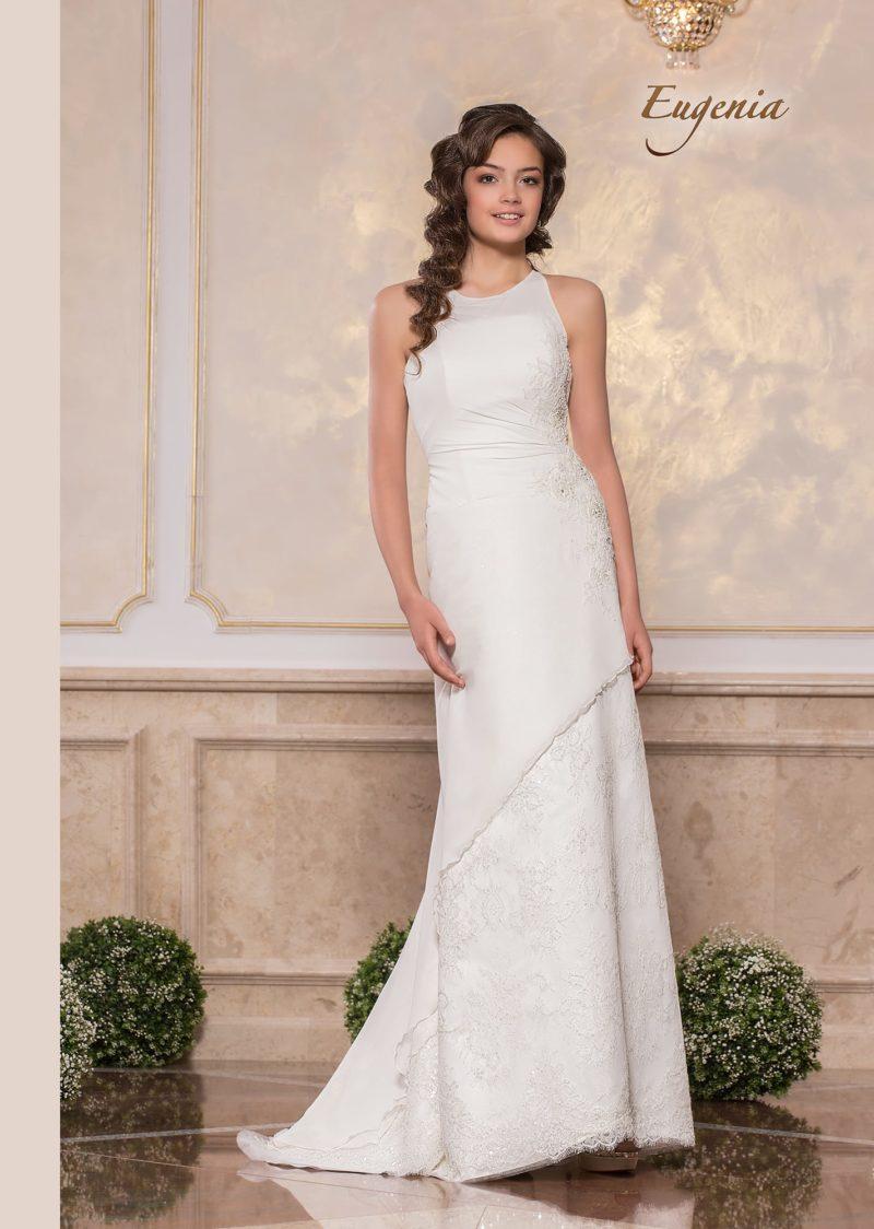 Свадебное платье прямого кроя с американской проймой и шлейфом сзади.