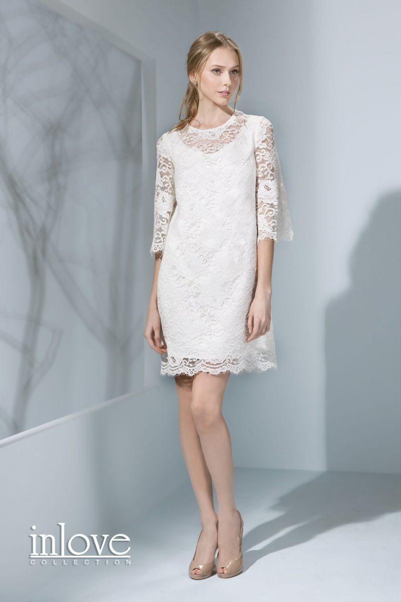 Короткое прямое свадебное платье