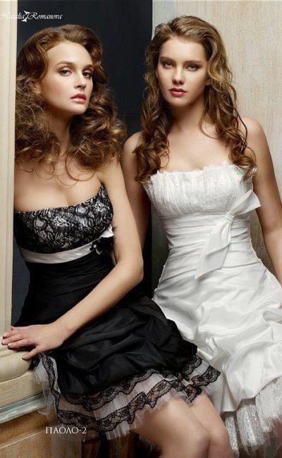 Короткое свадебное платье с лифом прямого кроя, выполненное в черном или в белоснежном цвете.