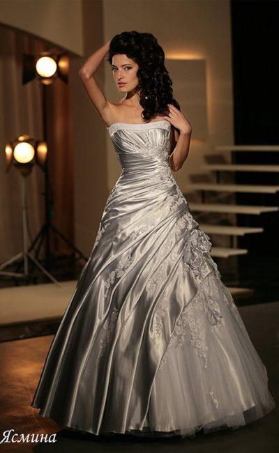 Кофейное свадебное платье
