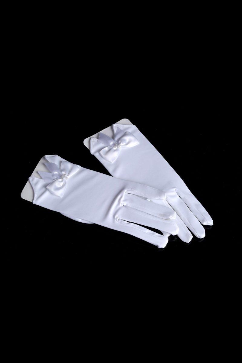 Короткие свадебные перчатки из атласа, украшенные бантами.