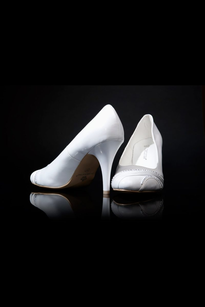 Туфли кожаные с отделкой из драпировок
