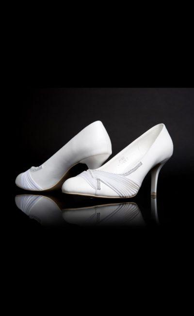 Туфли кожаные с драпировками и бисерным декором