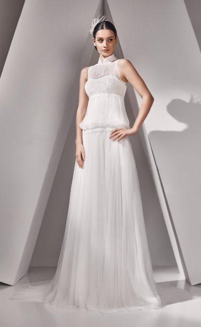 свадебное платье с вырезом под горло