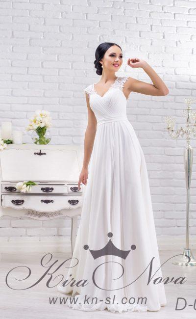 Шелковое свадебное платье в греческом стиле, с широкими бретелями и драпировками по лифу.