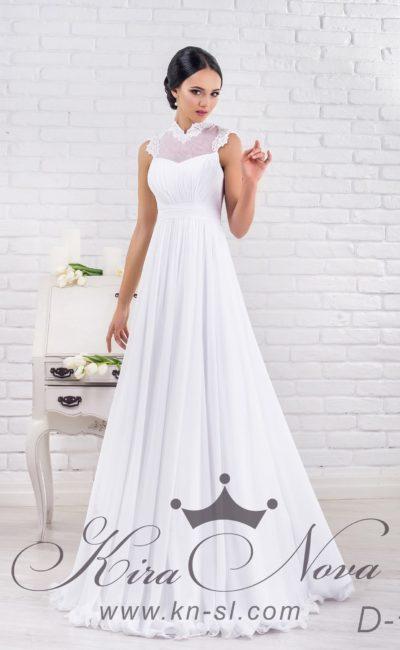 Ампирное свадебное платье с широким поясом и изысканным высоким воротником из кружева.