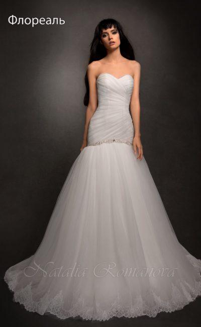 Изысканное свадебное платье «рыбка»