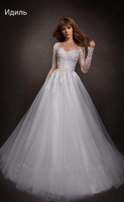 Торжественное платье с округлым вырезом