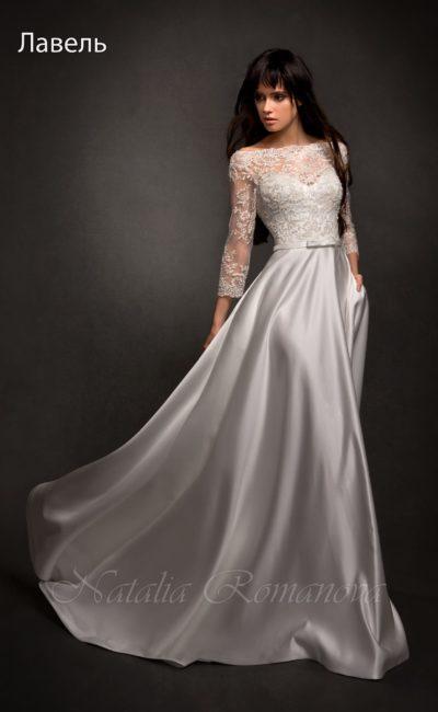 Платье с портретным декольте