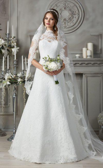 Кружевное свадебное платье «трапеция»