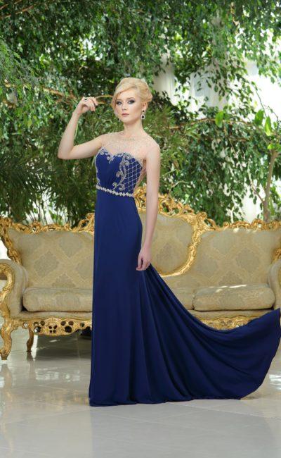 вечернее платье глубокого синего оттенка