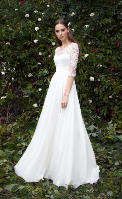 Женственное свадебное платье в классическом стиле, с тонким рукавом ¾.