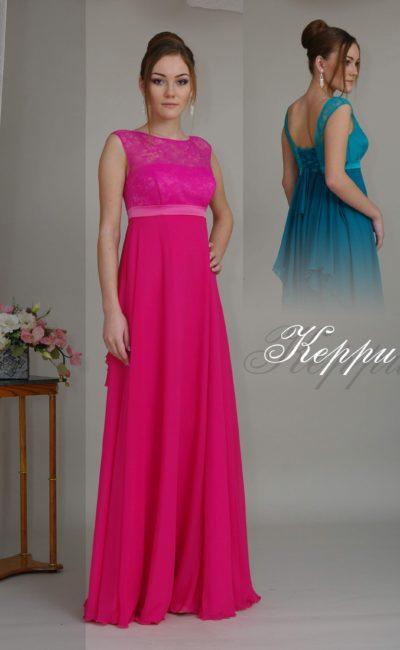 Изящное вечернее платье с прямой юбкой, кружевным лифом и поясом на завышенной талии.