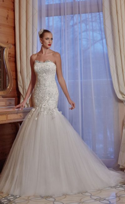 Роскошное свадебное платье «рыбка»