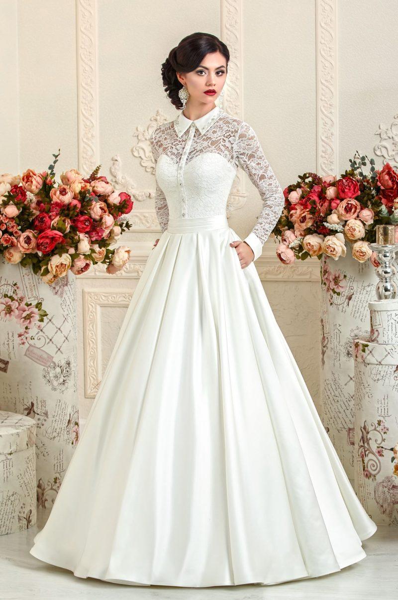 Оригинальное свадебное платье с острым воротником, длинными рукавами и юбкой «рыбка».