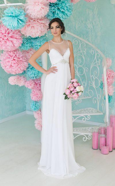 Свадебное недорогое платье ампир