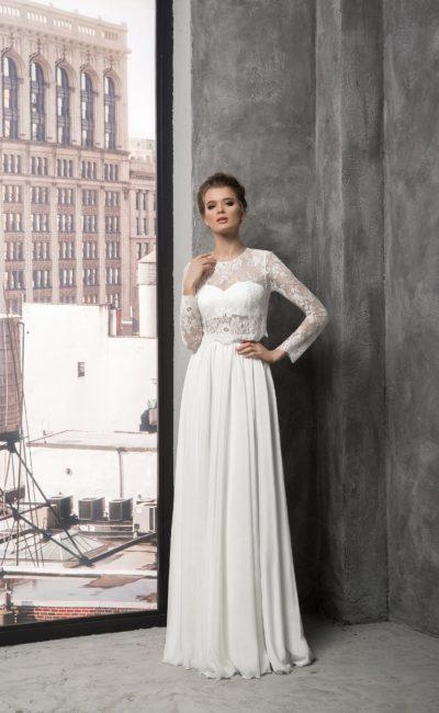 Закрытое свадебное платье в лаконичном стиле, с округлым вырезом и длинными рукавами.