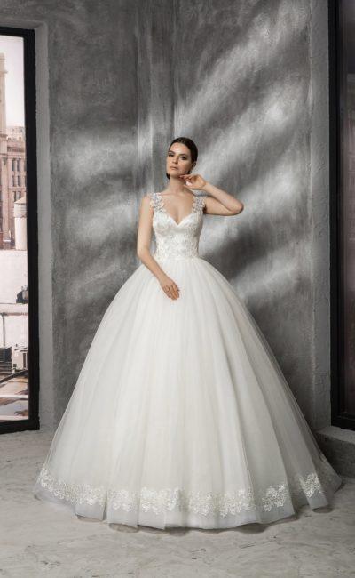 Свадебное платье с соблазнительным атласным корсетом и широкими кружевными бретелями.