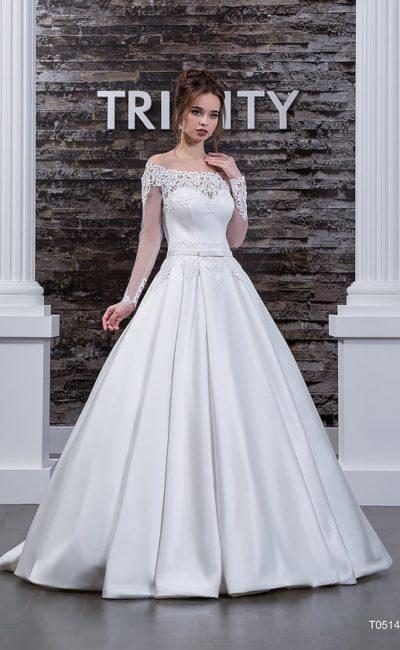 Атласное недорогое свадебное платье