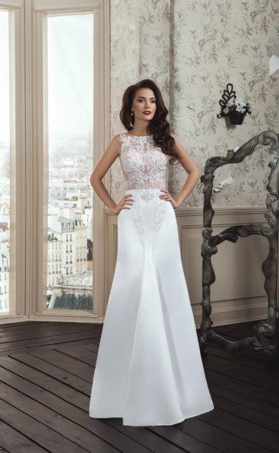 Оригинальное свадебное платье «русалка» с полупрозрачным кружевным верхом закрытого кроя.