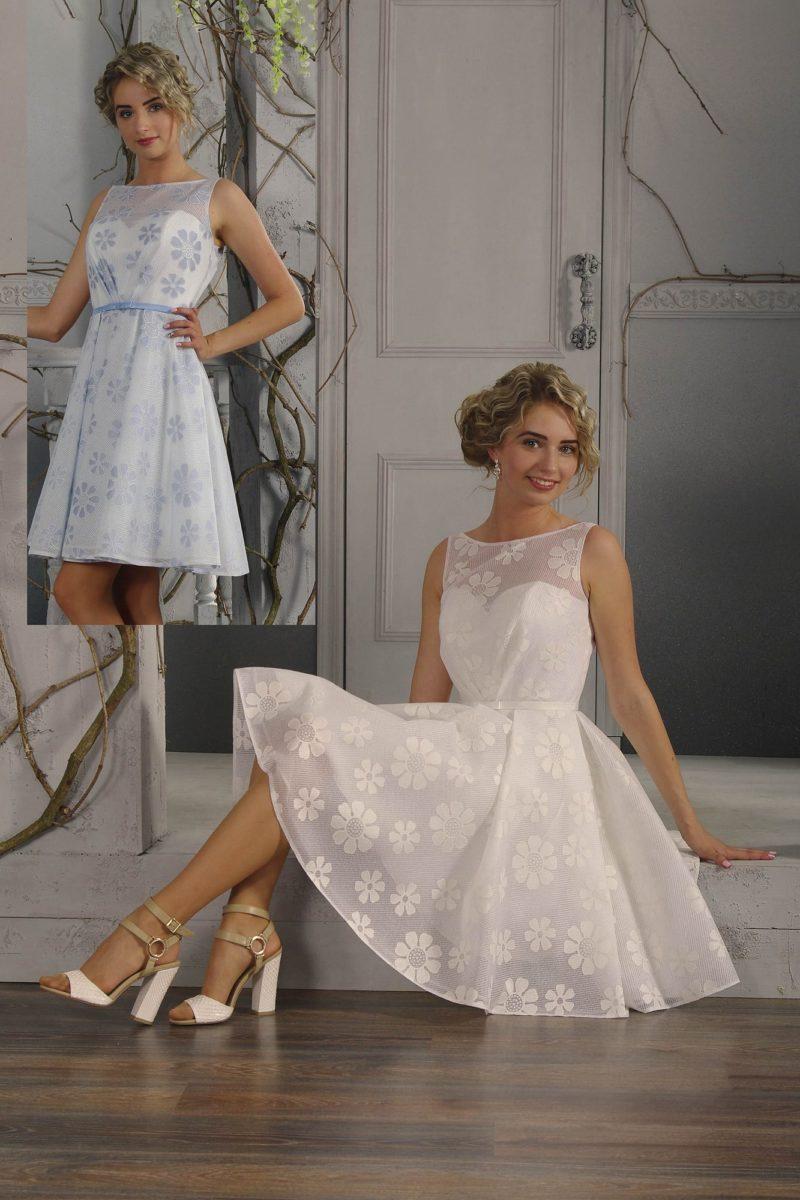 Стильное свадебное платье длиной до колена с крупным цветочным рисунком.
